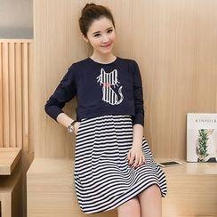 Carna - Maternity Set: Cat Print Long Sleeve Top + Striped Nursing Tank Dress