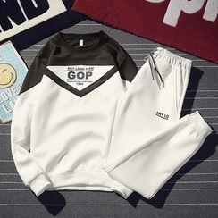 JETTE - Set: Color Block Sweatshirt + Sweatpants