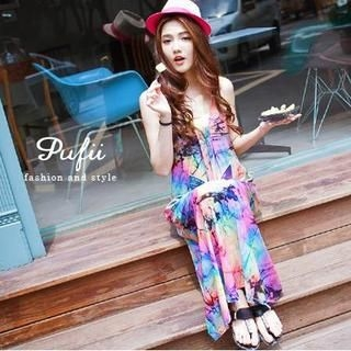 PUFII - Lace-Back Rainbow Maxi Tank Dress