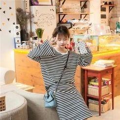 Whitney's Shop - Set: Striped Long Sleeve Top + Striped Midi Skirt