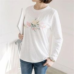 JOAMOM - Round-Neck Embroidered T-Shirt
