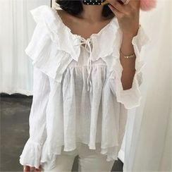 LIPHOP - Layered-Ruffle Asymmetric-Hem Top
