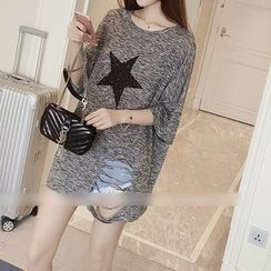 Carabecca - Star Print Elbow Sleeve Distressed T-Shirt