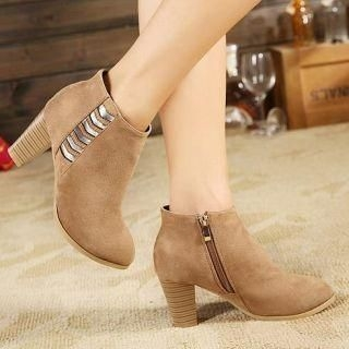 Mancienne - High-Heel Panel Ankle Boots