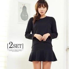 ANNINA - Set: Round-Neck Textured Top + Frill-Hem Skirt