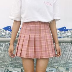 Porta - Plaid Pleated Skirt