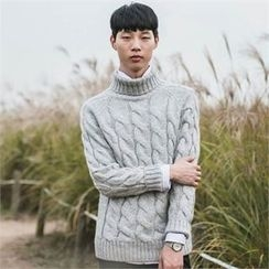 STYLEMAN - Turtle-Neck Cable-Knit Sweater