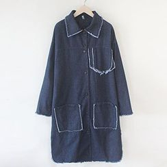Athena - Fray-Trim Denim Coat