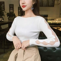 Anlay - Off-Shoulder Mesh Sleeve Knit Top