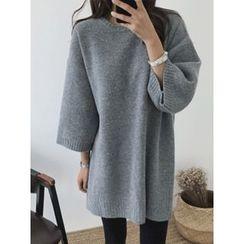 hellopeco - Wide-Sleeve Wool Blend Sweater