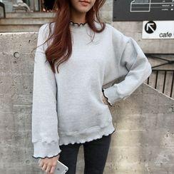 NIPONJJUYA - Dip-Back Frill-Edge Piped Sweatshirt