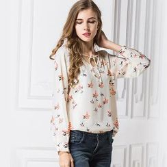 LIVA GIRL - Long-Sleeve Bird Print Chiffon Top