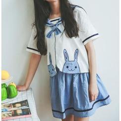 Moricode - Set: Short-Sleeve Sailor Collar Top + Skirt