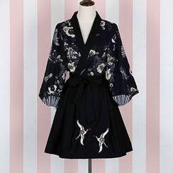 Rega - Print Kimono Jacket / A-Line Skirt