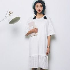 SUYISODA - Elbow-Sleeve Panel Dress