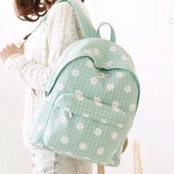 Canvas Love - Floral Print Check Canvas Backpack