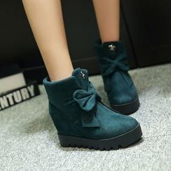 Pastel Pairs - Bow Accent Hidden Wedge Ankle Boots
