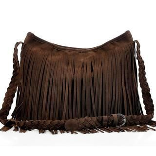 M.R. - Fringed Woven-Strap Cross Bag