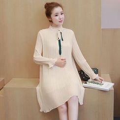 Mamaladies - Long-Sleeved Stand Collar Plain Maternity Chiffon Pleated A-Line Sheath Dress