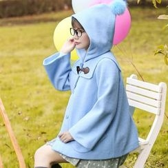 NiFFe - Pompom-Accent Hooded Cape Coat