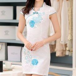 MyShow - Cap-Sleeve Embroidered Cheongsam
