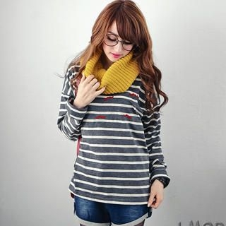OrangeBear - Long-Sleeve Moustache-Embroidered Striped Top