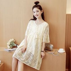 Mamaladies - 短袖純色孕婦圓領蕾絲真絲連衣裙
