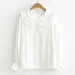 ninna nanna - Ruffle Trim Long-Sleeve Blouse