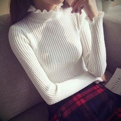 lilygirl - Frill Trim Ribbed Knit Sweater
