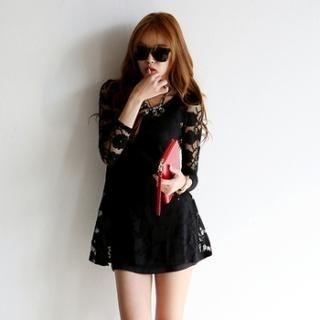 Koo - Lace Sleeve A-Line Dress
