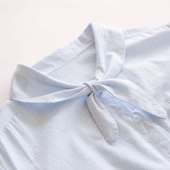 Bonbon - Tie-Neck Striped Shirt