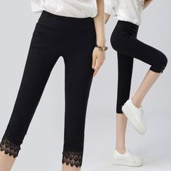mise en scene - Lace Trim Capri Leggings