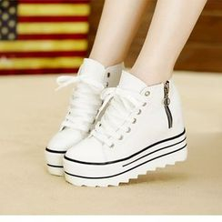 Yoflap - Platform Hidden Wedge Lace Up High Top Sneakers
