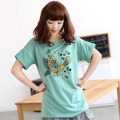 59 Seconds - Short-Sleeved Beaded Bird Print T-Shirt
