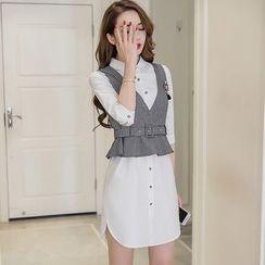 妮佳 - 套装: 七分袖衬衫裙 + 马甲