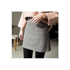 CHERRYKOKO - Houndstooth Wool Blend A-Line Mini Skirt