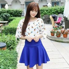 MisSweet - Set: Bird-Print Chiffon Top + A-Line Skirt