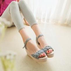 Pangmama - Braided-Strap Denim Wedge Sandals