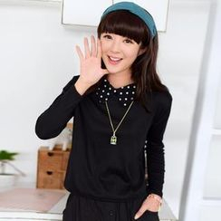 59 Seconds - Dotted Collar Long-Sleeved Top