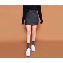 HOTPING - Brushed Fleece-Lined Padded Mini Skirt