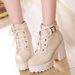 Shoes Galore - Lace-Up Platform Heeled Short Boots