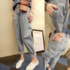 Denim Fever - Elastic Waist Washed Jeans