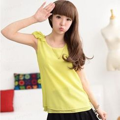 59 Seconds - Chiffon Sleeveless Top with Bow Shoulder Accent
