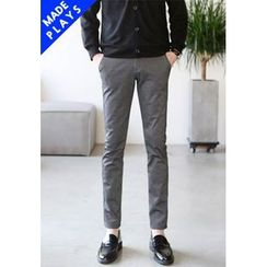 PLAYS - Flat-Front Slim-Fit Pants