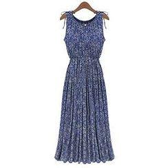 米兰阁 - 无袖修身碎花长款连衣裙