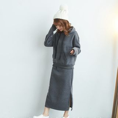 BAIMOMO - 套裝:連帽上衣 + 半身裙