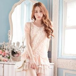 Tokyo Fashion - Short-Sleeve Lace-Overlay Top