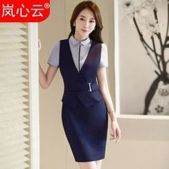 Skyheart - Sleeveless Sheath Dress / Blazer / Dress Shirt
