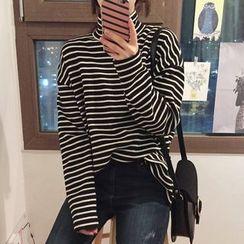 Dute - Long-Sleeve High Neck Striped T-Shirt