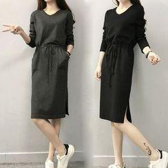 lilygirl - 纯色V领针织连衣裙